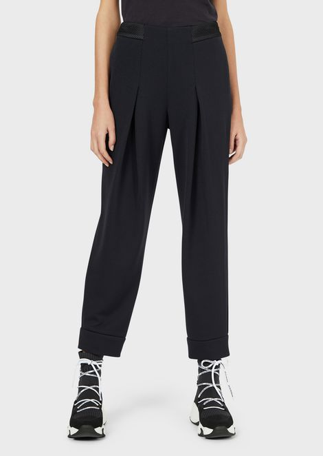 Textured-jersey godet trousers