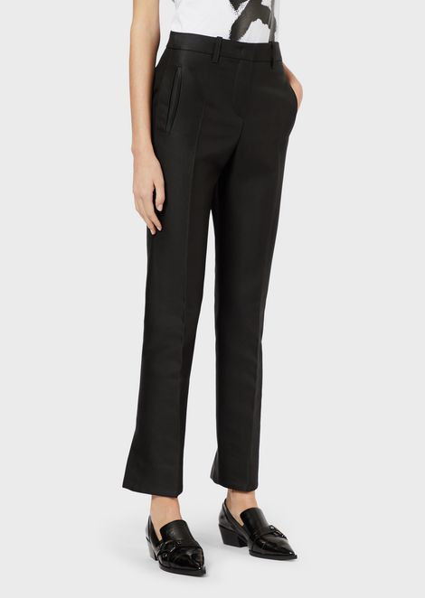 Front-creased gabardine trousers