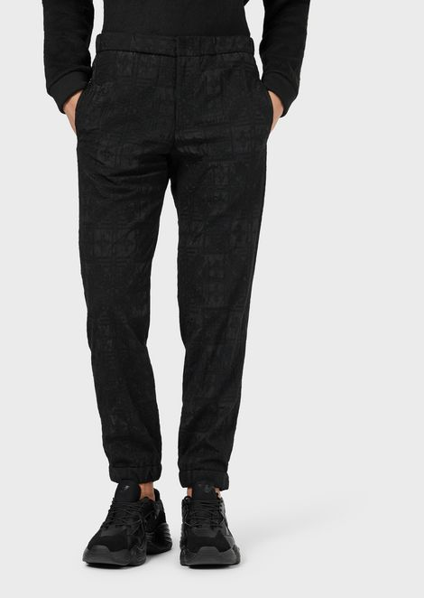 Nylon trousers with all-over embroidery