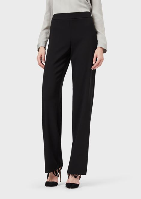 Loose-fit trousers in wool crêpe