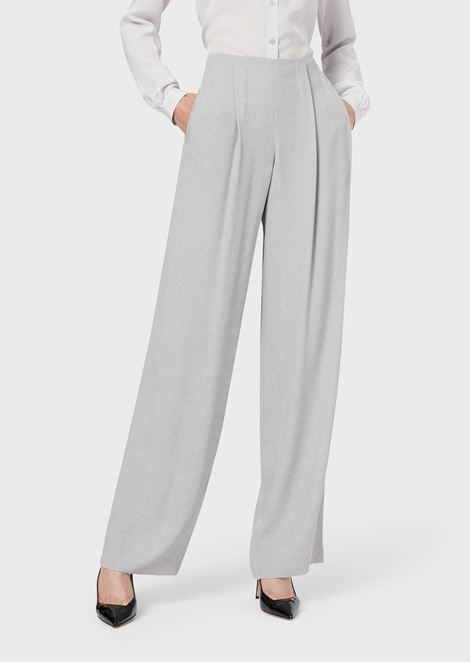 Loose-fit trousers in crêpe