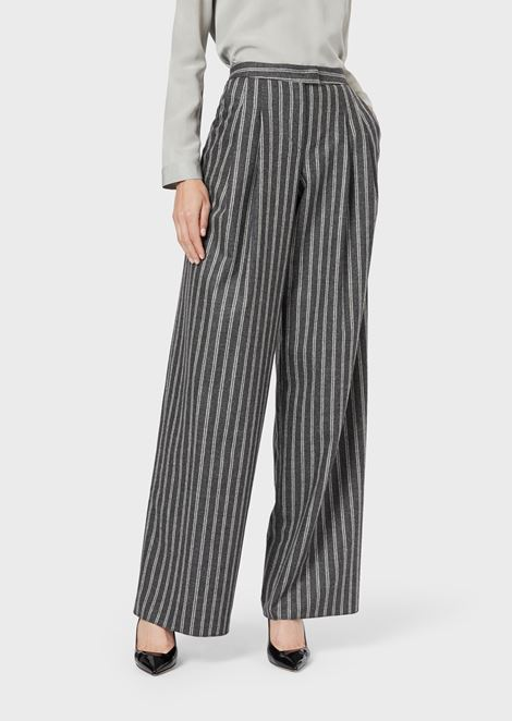 Roomy, pinstriped flannel trousers in wool and cashmere
