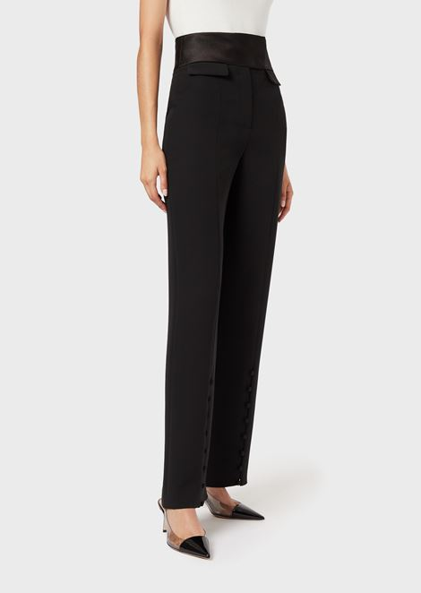 Roomy silk trousers with satin waistband