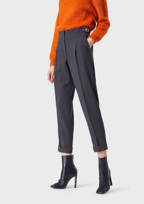 Slim-fit trousers in stretch wool crêpe