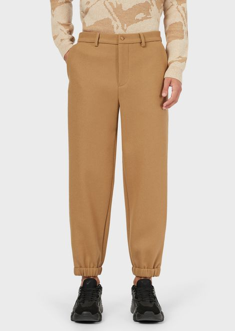 Wool trousers with elasticated cuffs