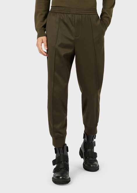 Blended-wool twill jogging trousers