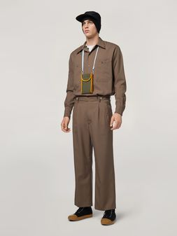 Marni Pants in brown tropical wool Man