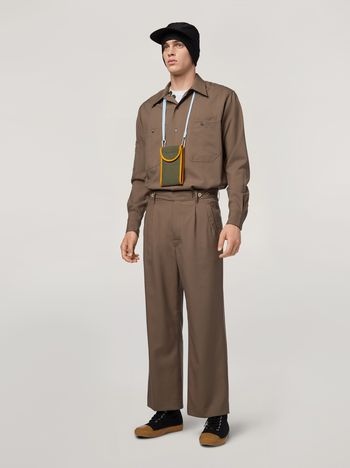 Marni Pants in brown tropical wool Man f