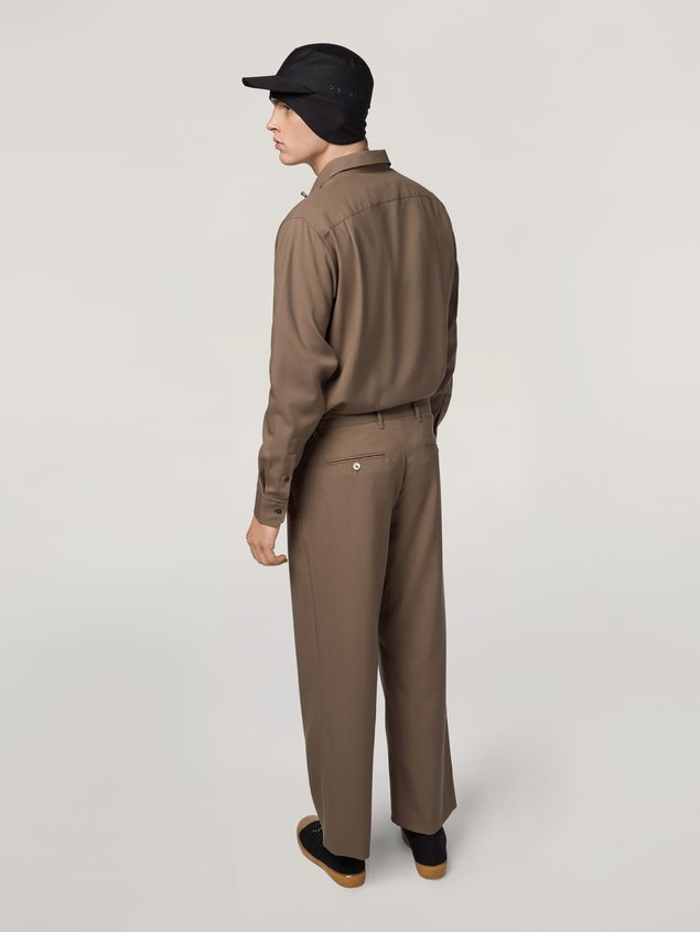 Marni Trousers in tropical wool brown Man