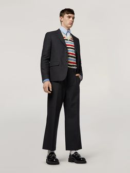 Marni Trousers in tropical wool mélange grey blue  Man