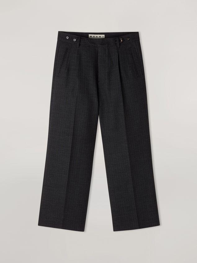 Marni Pants in mélange gray-blue tropical wool  Man - 2
