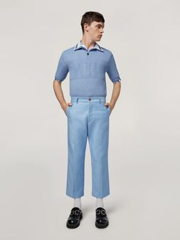 Marni Trousers in compact cotton satin pale blue Man
