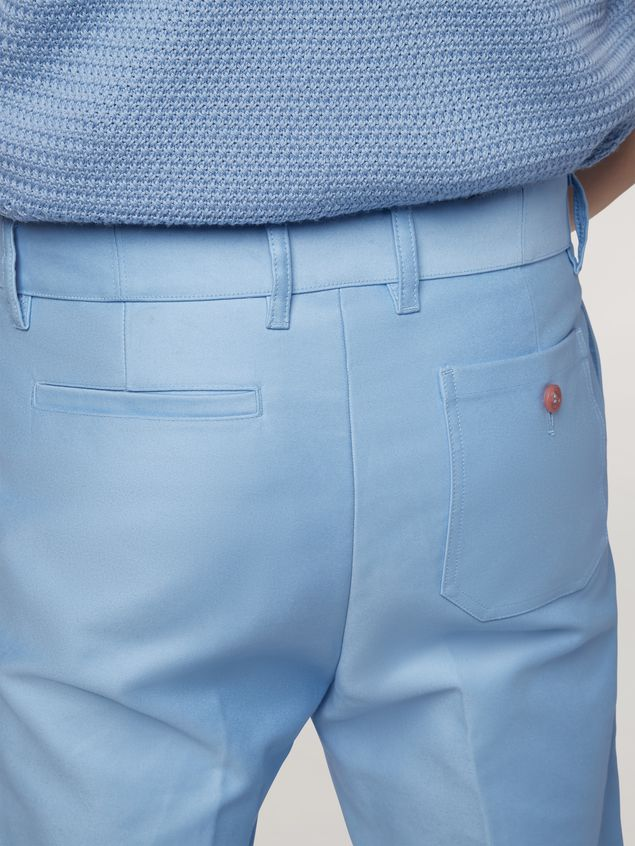 Marni Trousers in compact cotton satin pale blue Man - 5