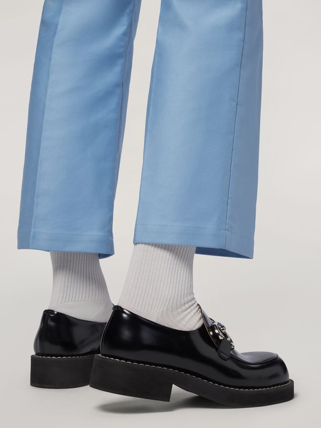Marni Trousers in compact cotton satin pale blue Man - 4