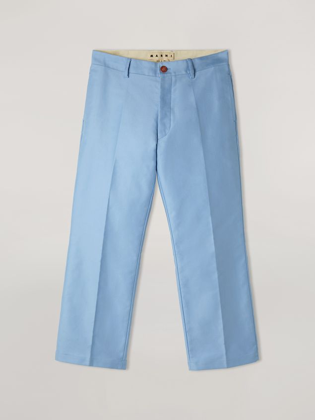 Marni Trousers in compact cotton satin pale blue Man - 2