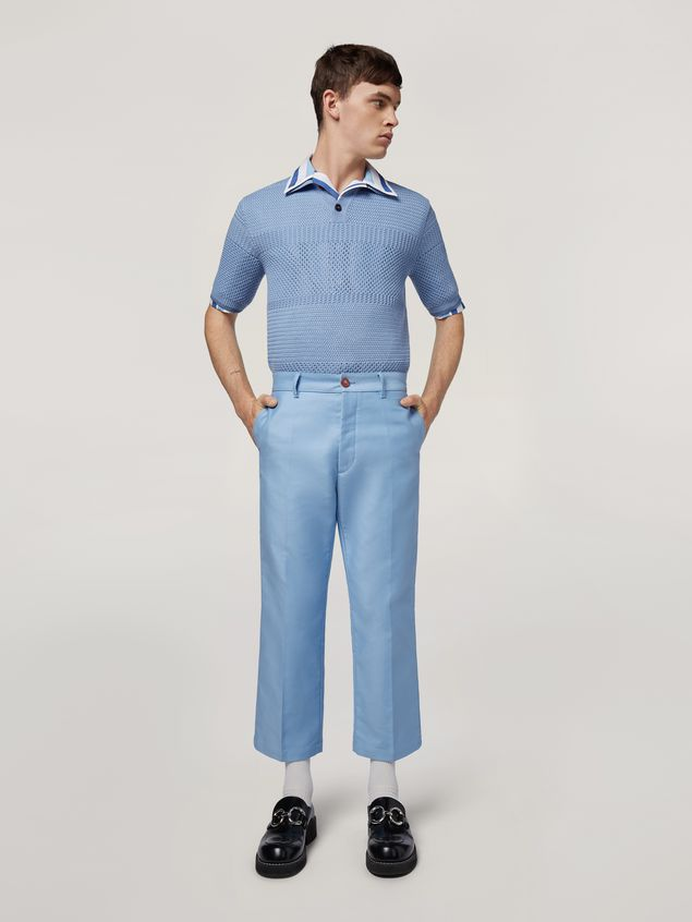 Marni Trousers in compact cotton satin pale blue Man - 1