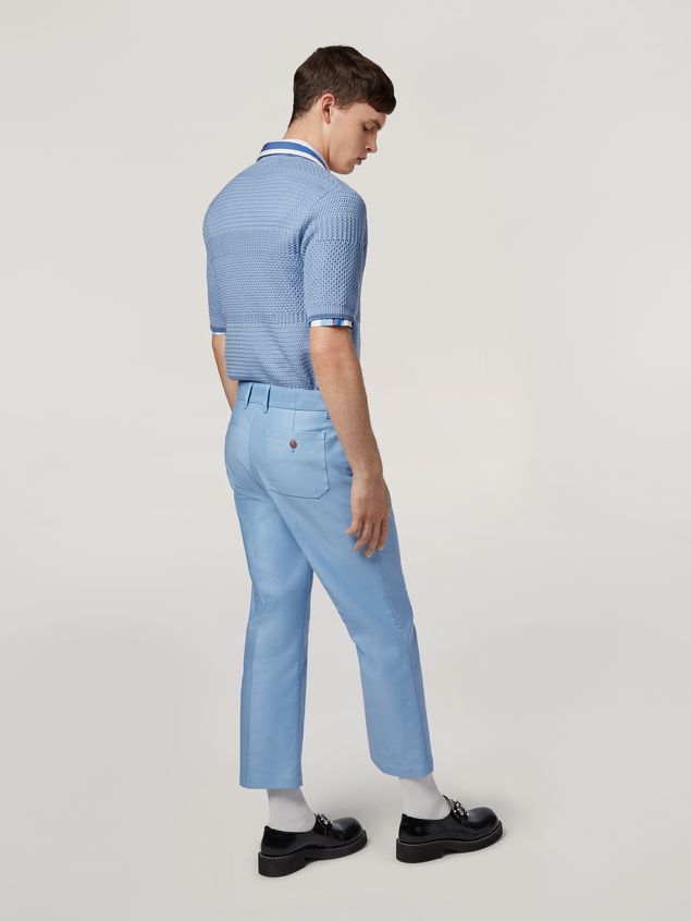Marni Trousers in compact cotton satin pale blue Man - 3