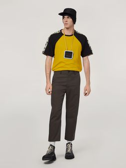 Marni Trousers in workwear gabardine with contrast inserts Man