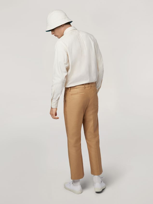 Marni Trousers in compact cotton satin brown Man