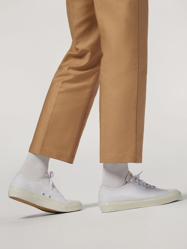 Marni Trousers in compact cotton satin brown Man - 5
