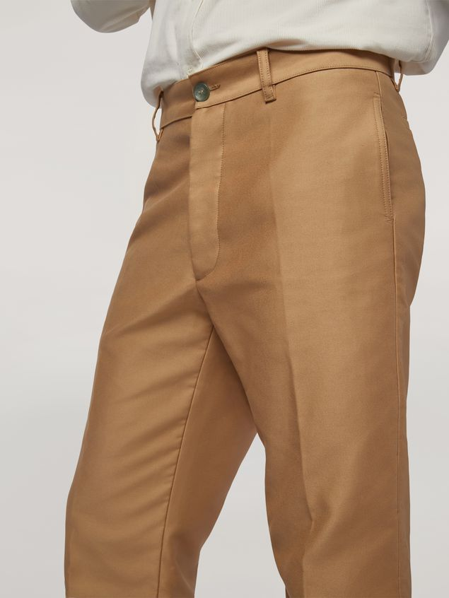 Marni Trousers in compact cotton satin brown Man - 4