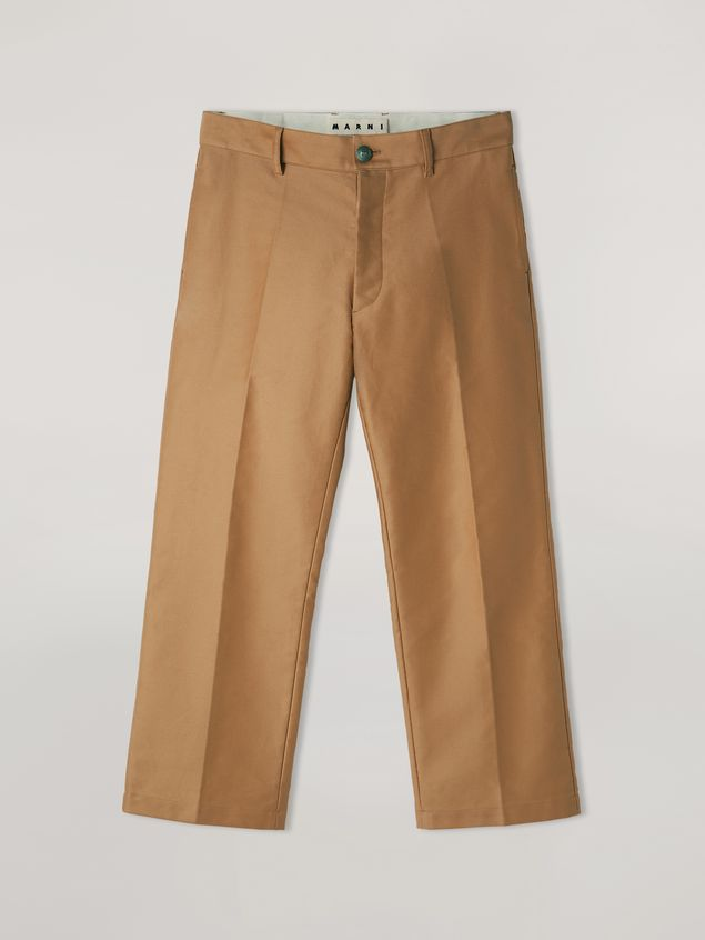 Marni Trousers in compact cotton satin brown Man - 2