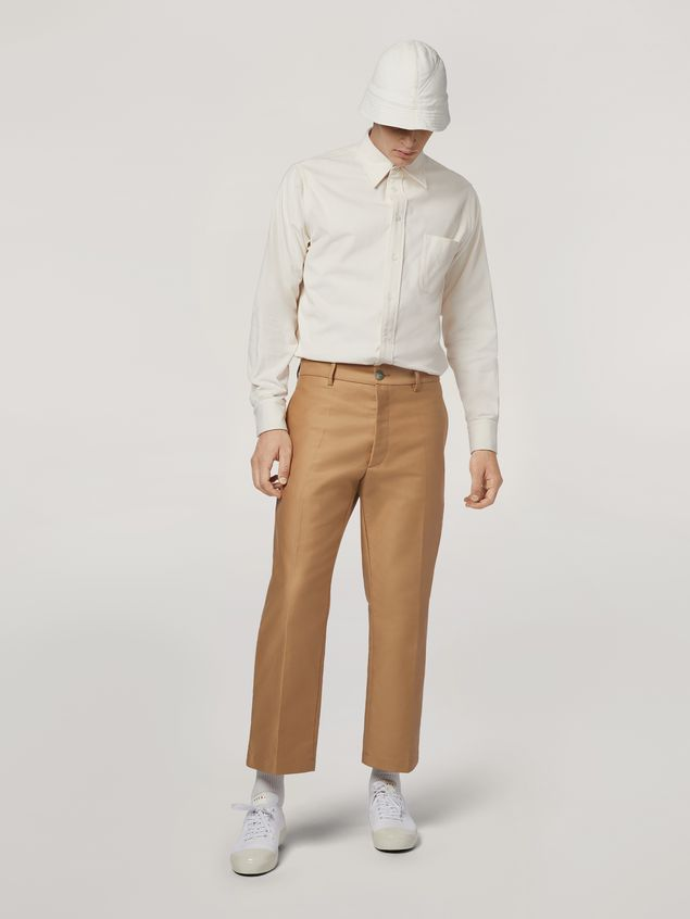 Marni Trousers in compact cotton satin brown Man - 1