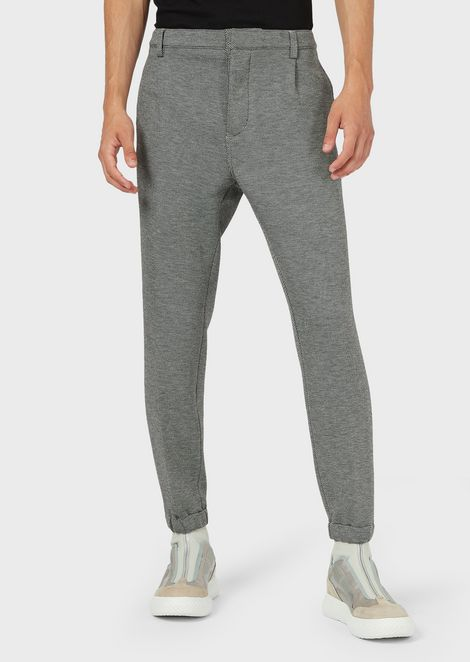 Micro-pattern chino trousers with elasticated cuffs