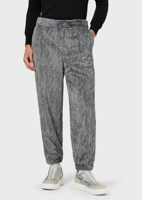 Trousers in a faux fur blend