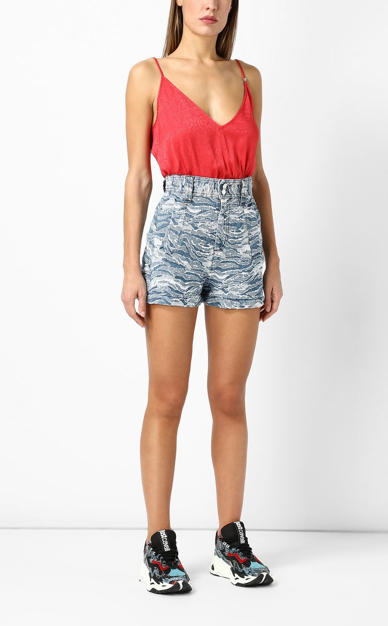 JUST CAVALLI Jacquard denim shorts Shorts Woman d
