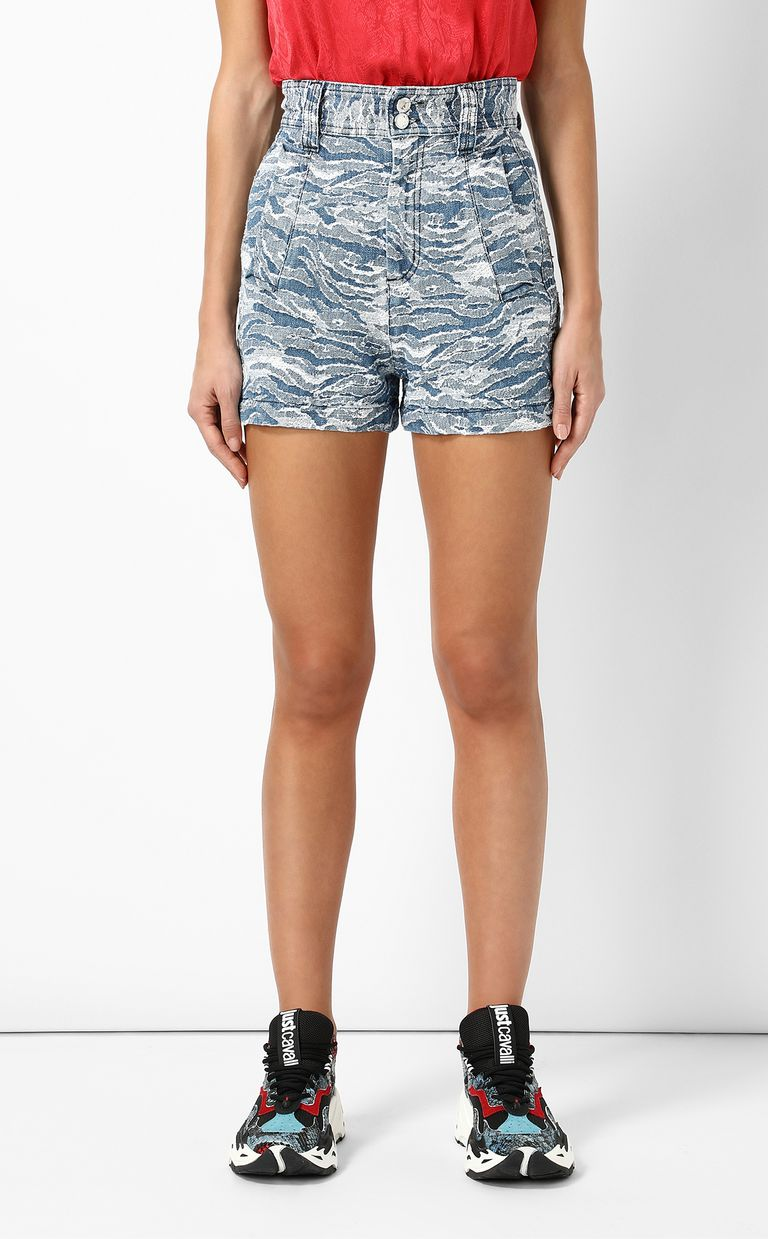 JUST CAVALLI Jacquard denim shorts Shorts Woman r