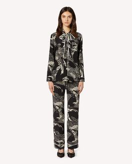 REDValentino Silk pants with Phoenicians print