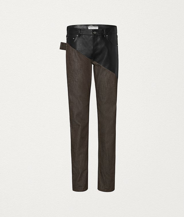 BOTTEGA VENETA TROUSERS IN DENIM AND LEATHER Trousers and Shorts Man fp