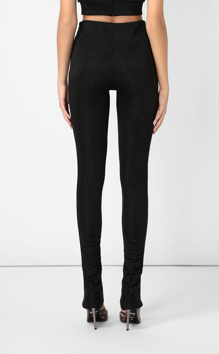 JUST CAVALLI Black lurex trousers Casual pants Woman a