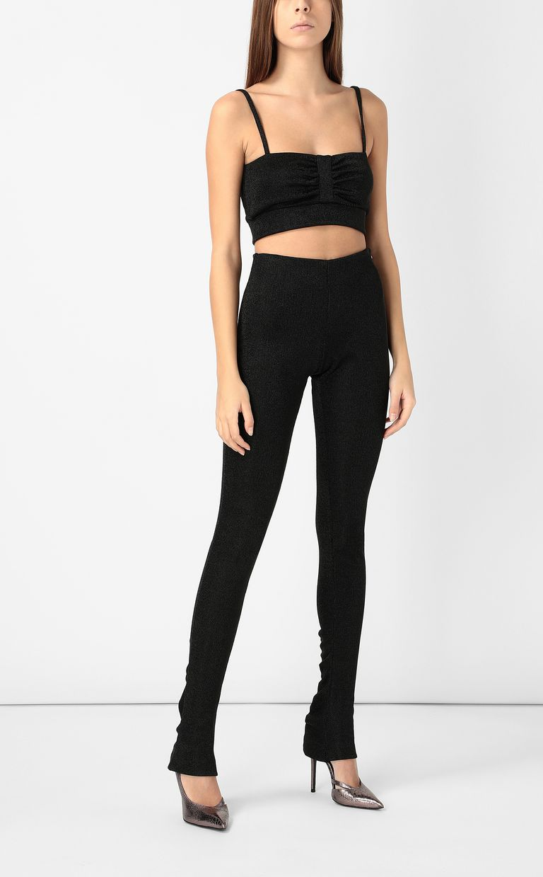 JUST CAVALLI Black lurex trousers Casual pants Woman d