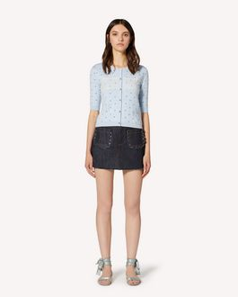 REDValentino Scallop detail denim shorts