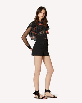REDValentino Viscose gabardine shorts with belt