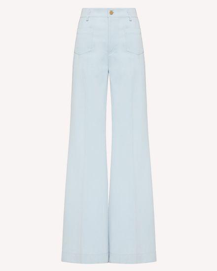 Cotton gabardine flared pants