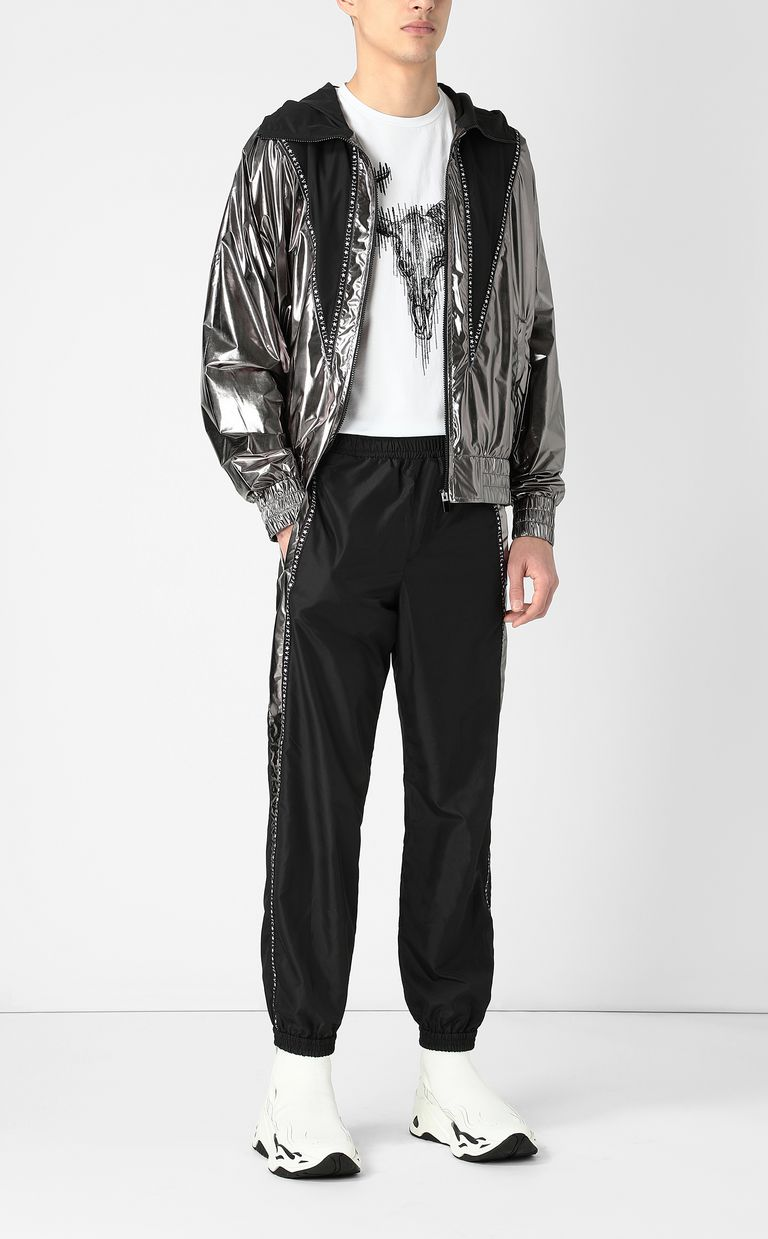 JUST CAVALLI Metallic-effect nylon trousers Casual pants Man d