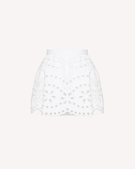 Sangallo embroidered cotton gabardine shorts