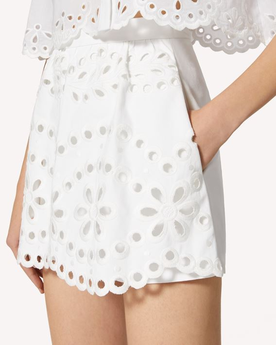 REDValentino Cotton gabardine shorts with St. Gallen embroidery