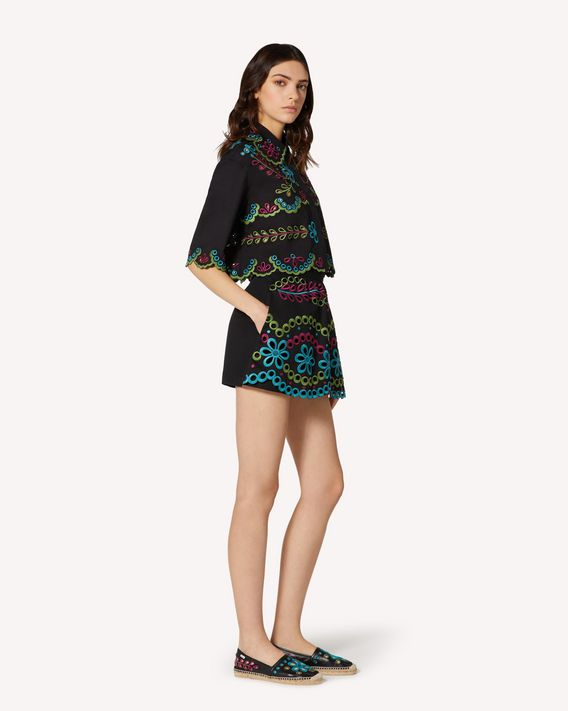 REDValentino Cotton gabardine shorts with multicolor St. Gallen embroidery