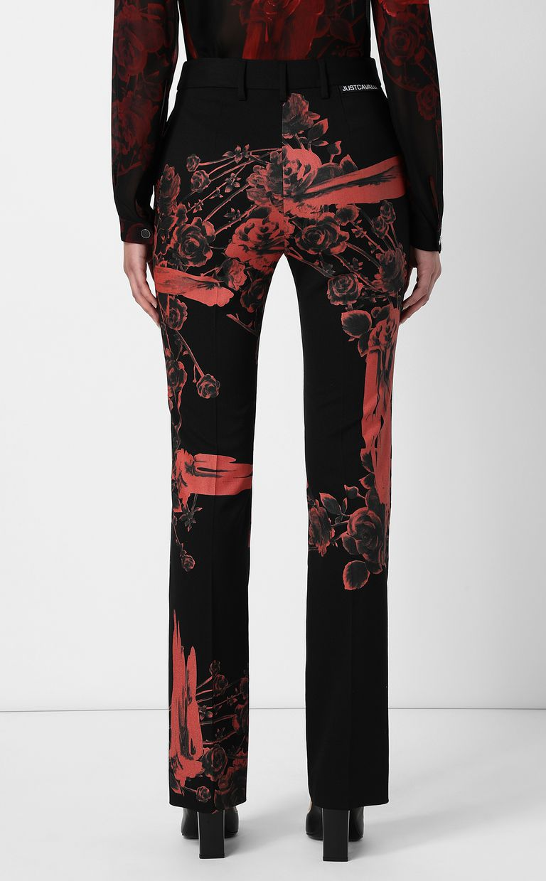 JUST CAVALLI Trousers with Moving-Roses print Casual pants Woman a