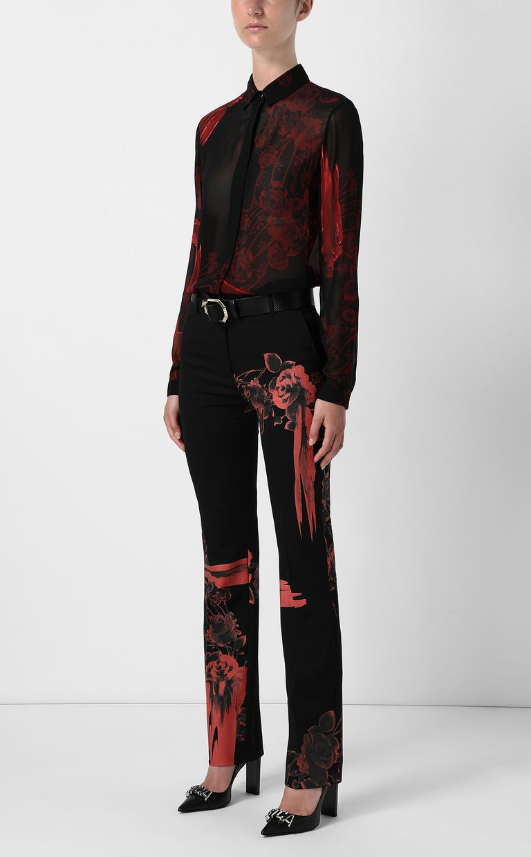 JUST CAVALLI Trousers with Moving-Roses print Casual pants Woman d