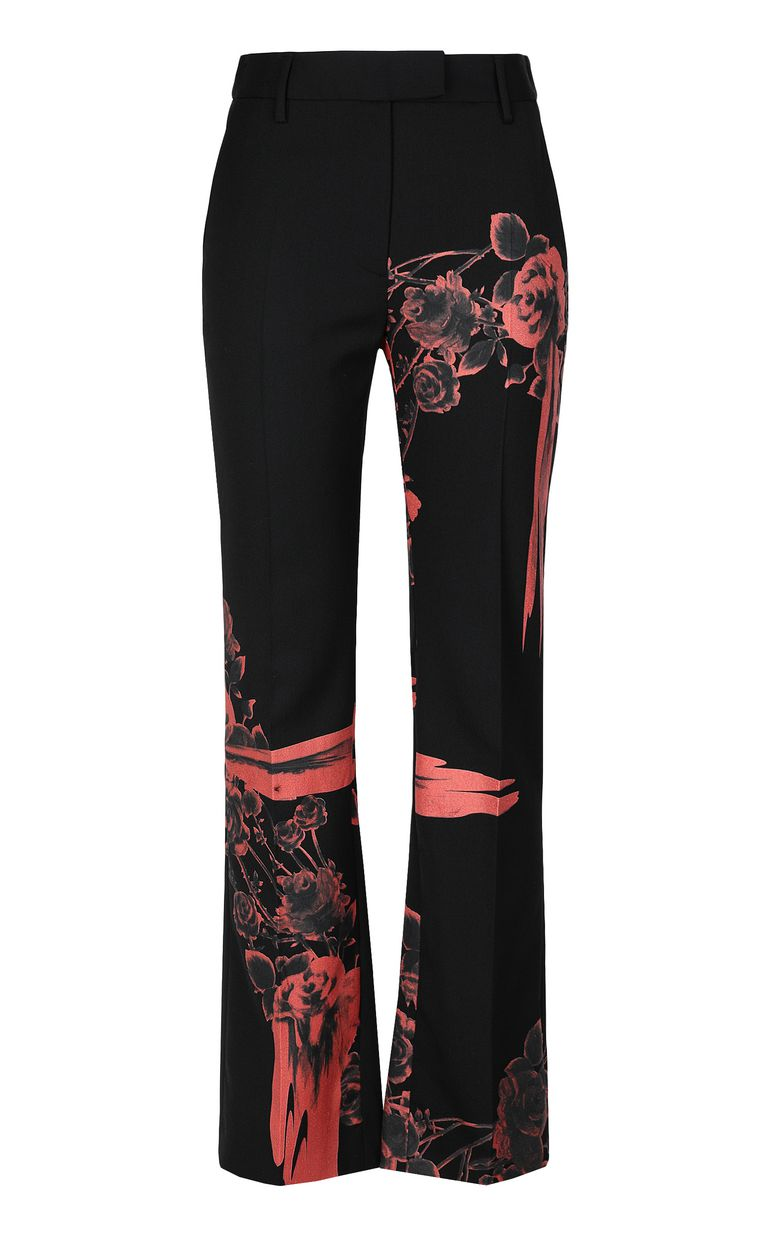 JUST CAVALLI Trousers with Moving-Roses print Casual pants Woman f