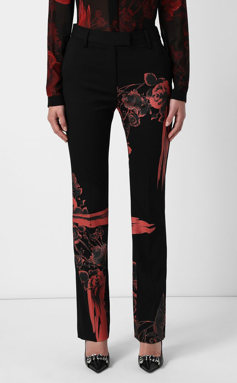 JUST CAVALLI Trousers with Moving-Roses print Casual pants Woman r
