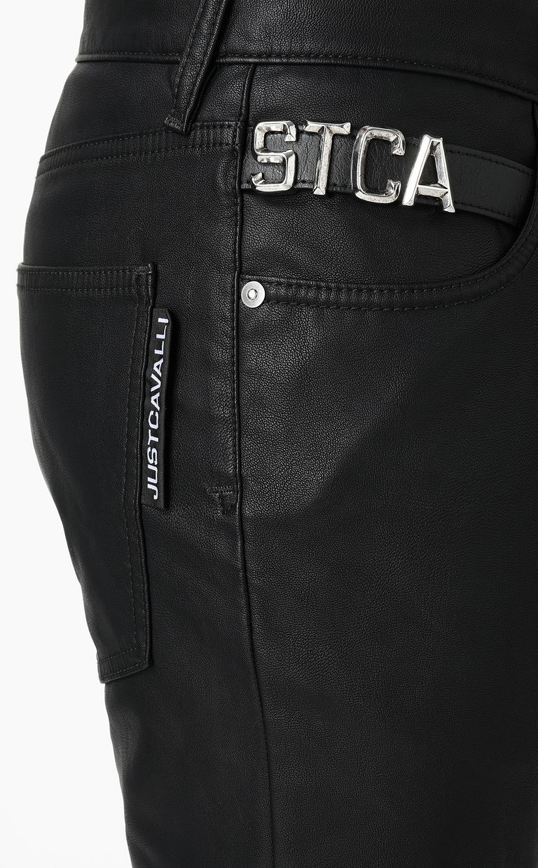 JUST CAVALLI Leather-effect jeans Leather pants Man e