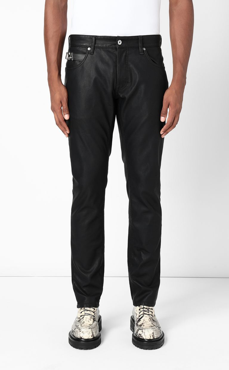 JUST CAVALLI Leather-effect jeans Leather pants Man r