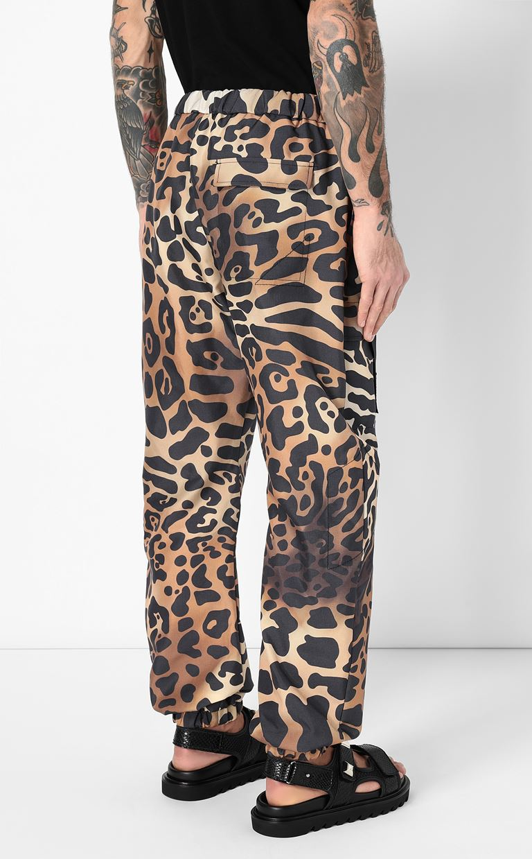 JUST CAVALLI Trousers with leopard-spot print Casual pants Man a