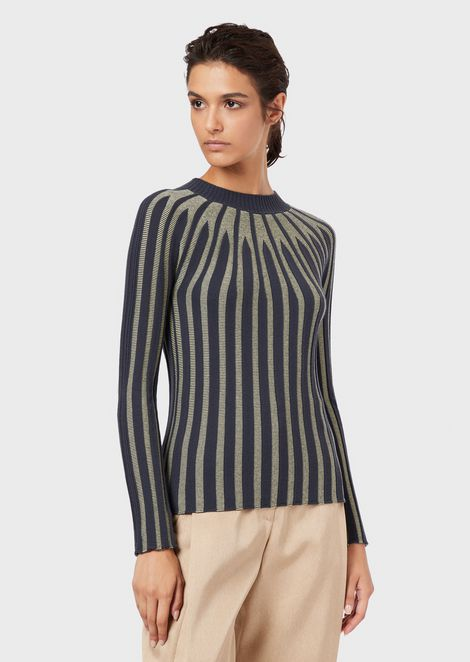 Cashmere sweater with contrasting stripes